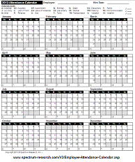 Printable Employee Attendance Calendar Template Pictures to pin on ...